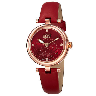 Women's Burgi BUR128RD Embossed Flower Diamond Dial Genuine Leather Strap Watch