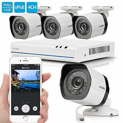 Zmodo 1080p 4CH PoE NVR Security System 720p Night Vision Outdoor Cameras No HD