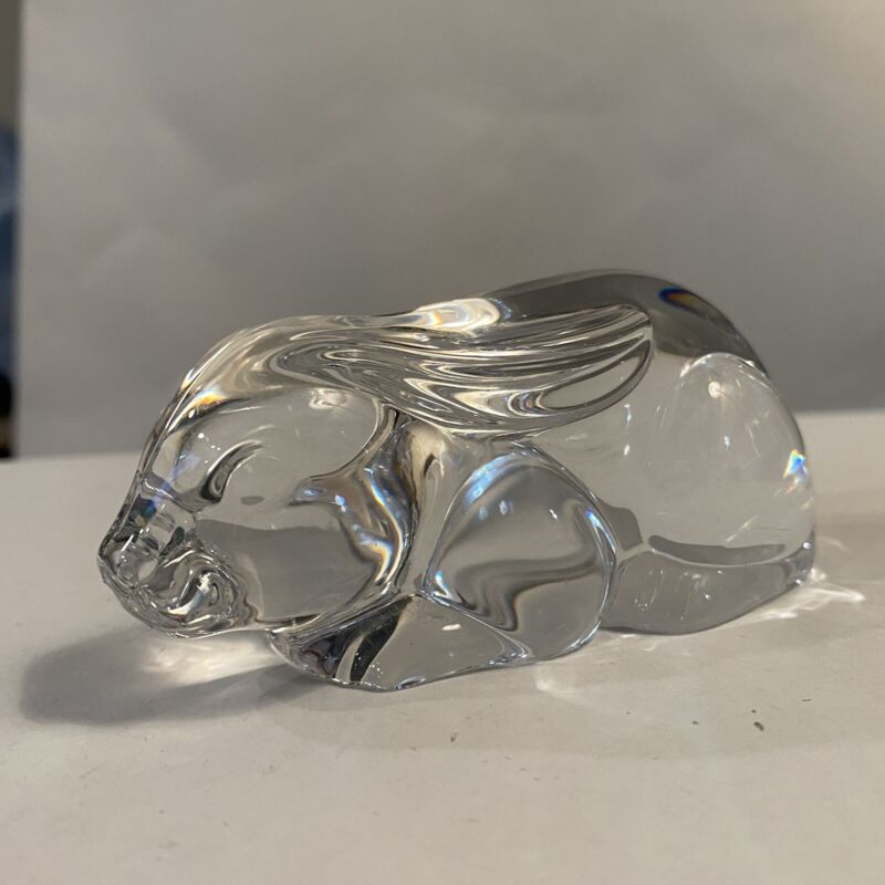 Art Deco Style Bunny Rabbit Crystal Glass Figurine Paperweight