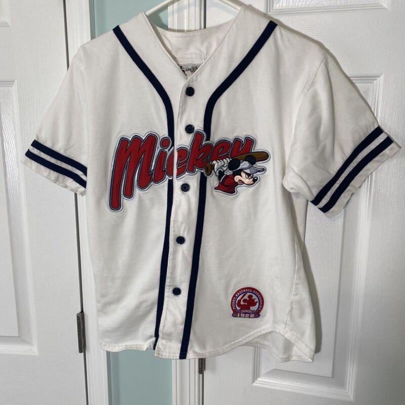 VTG Disney World Kids Mickey Mouse Baseball Embroidered Jersey Size Large 10/12