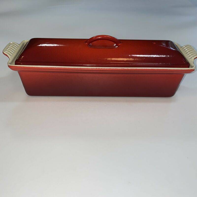 Le Creuset Enameled Cast Iron Red #32 Pate Terrine Meat Loaf Pan Cerise France