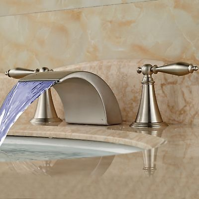 (LED Waterfall Bathroom Faucet Widespread Sink Tub Mixer Tap Brushed Nickel Deck)