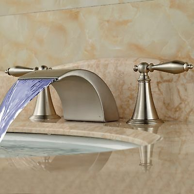 LED Waterfall Bathroom Faucet Widespread Sink Tub Mixer Tap Brushed Nickel Deck