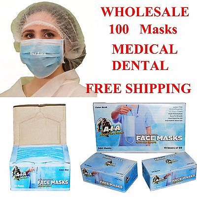 100 Disposable 3-ply Earloop Allergy Face Masks Dental Masks Nail Salon Medical
