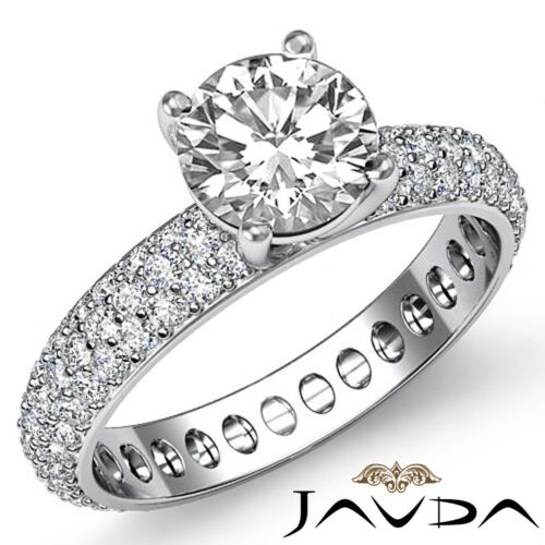 Round Cut Diamond Engagement Eternity Style Ring GIA F SI1 14k White Gold 2.5ct