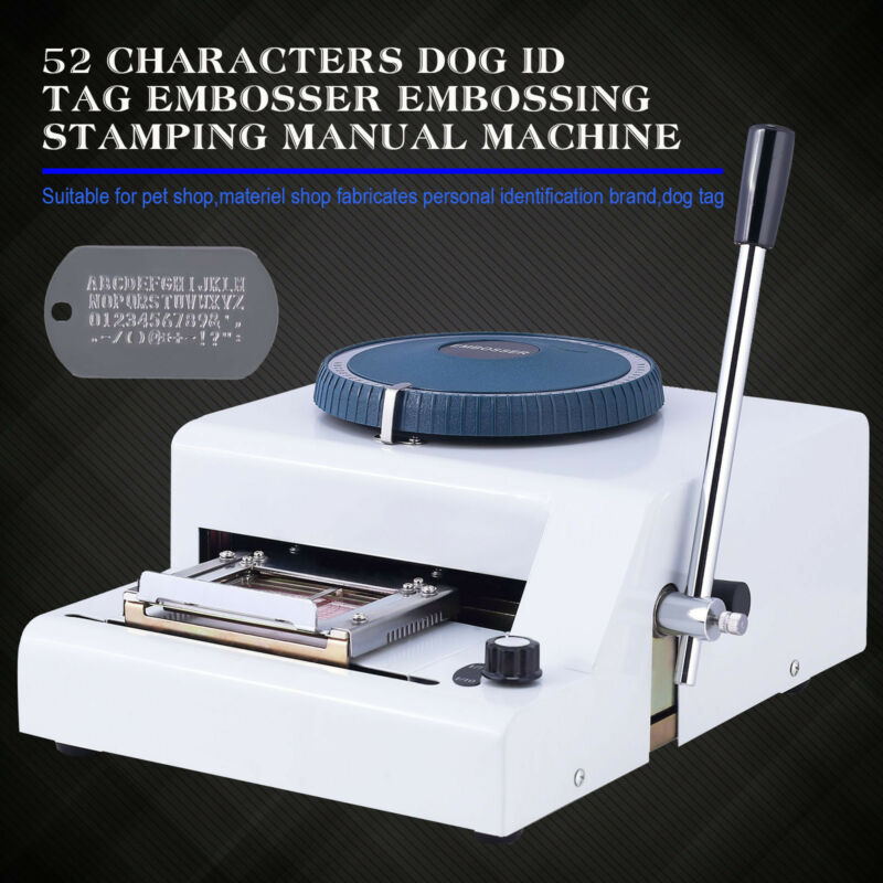 52 Characters Dog ID Card Tag Military Embossing Stamping Manual Machine