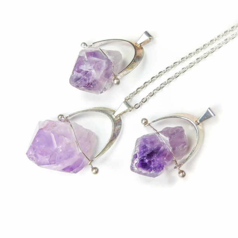 Bulk Wholesale Lot Of 5 Pieces - Amethyst Raw Arch Silver - Pendant Necklace