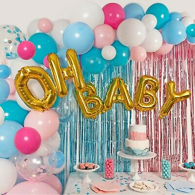 Gender Reveal Party Supplies Balloon Garland Kit - Tinsel Curtain and More!  - Gender Reveal Party Balloons