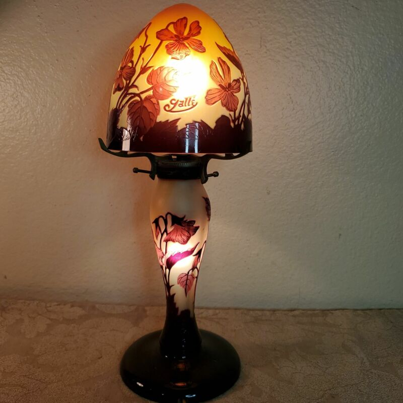 """French Galle 11"""" floral cameo glass lamp, late 20th C."""