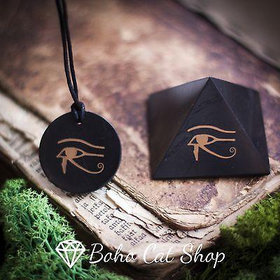 Shungite Eye of Horus Eye of Ra set pendant and pyramid 50mm EMF (Eye Of Ra And Eye Of Horus)