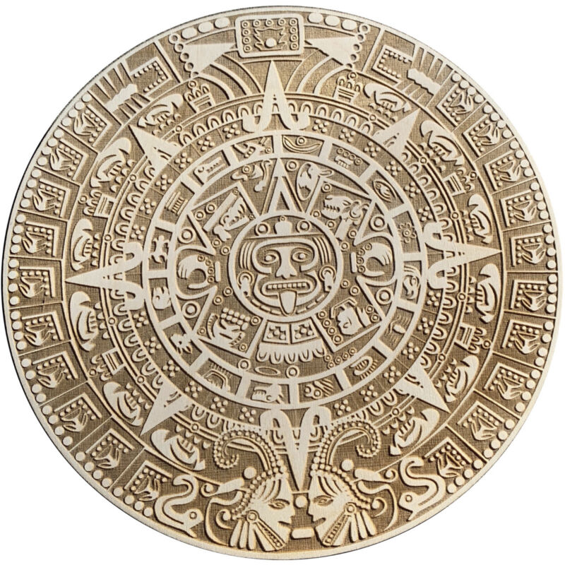 18x18 Inch Aztec Calendar Wall Art Laser Engraved On Wood. Free Shipping!