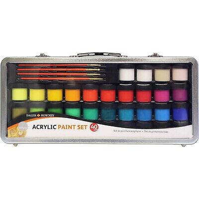 Daler Rowney Simply Acrylic Paint Set in Metal Case (40 pieces)