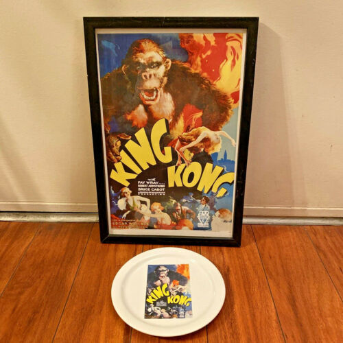 KING KONG 1933 TCM Archives Pottery Barn Collectible Plate & Framed Movie Poster