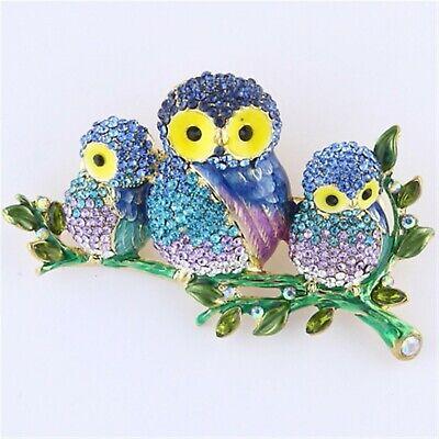Multi-Color Three Owls on a Branch Rhinestone Crystal Brooch Pin -