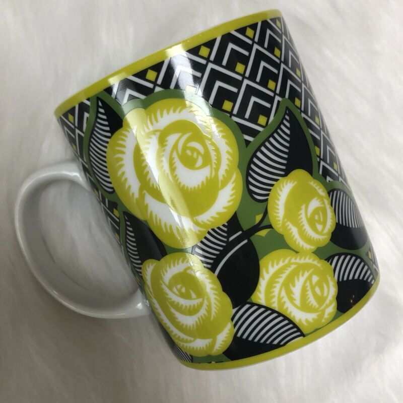 Vera Bradley La Neon Rose Coffee Tea Cup Mug Retired Ceramic Citron Green Black