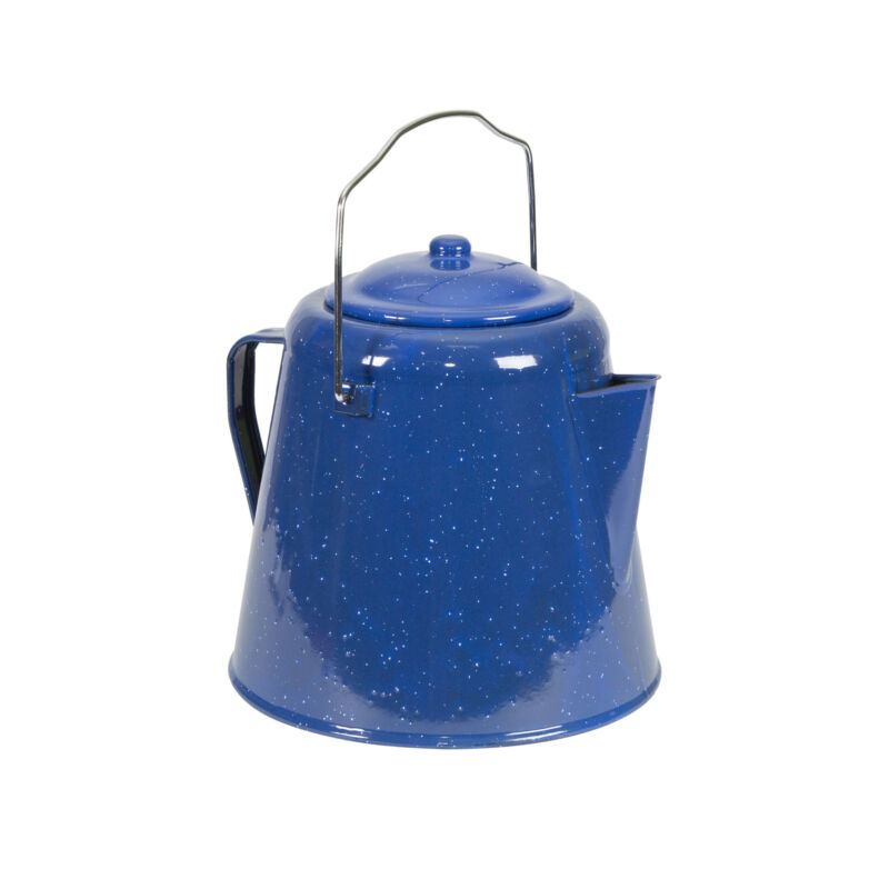 STANSPORT 20 CUP ENAMEL COFFEE POT STAINLESS STEEL BLUE CAMPING OUTDOOR NEW