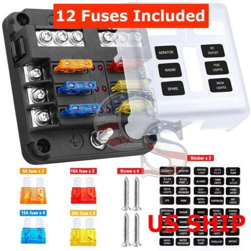 6-Way Auto Blade Fuse Holder Box Block with LED Indicator for 12V 24V Car Marine