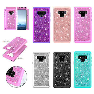 Bling Hybrid Glitter Sparkle Rubber TPU Protector Hard Case Cover Fr Samsung S9+