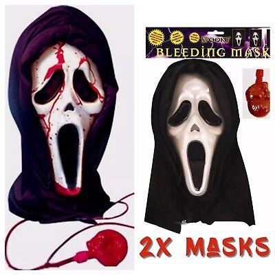 2x SCREAM BLEEDING HALLOWEEN BLOOD HOODED BULK HALLOWEEN HORROR SCARY - Scream Blood Mask