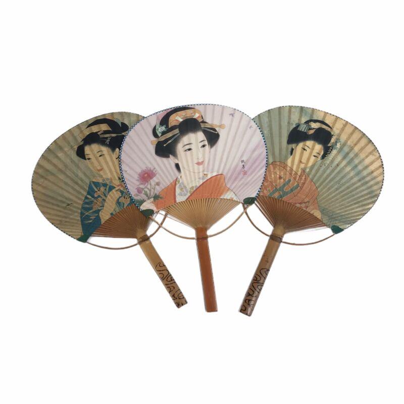 Lot Of 3 Japanese Geisha Uchiwa Flat Fan Hand Held Bamboo Handle Made in Japan