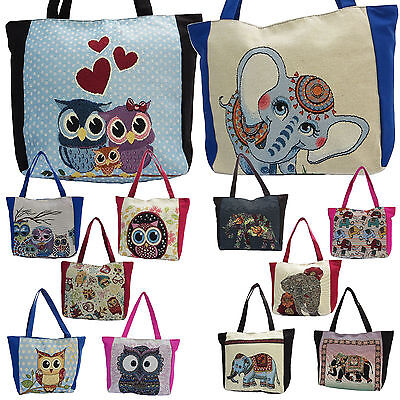 Cute Owl / Elephant Tapestry Tote Bag Women Floral Purse Shopping Large Handbag  - Owl Tote