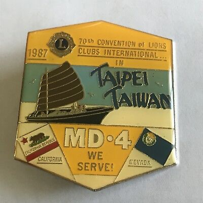Older Lions Club International Pin MD 4 California Nevada- 1987 Taipei Taiwan