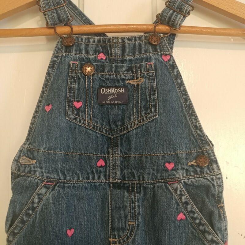 OshKosh Bgosh Vestbak Pink Hearts Cotton Overalls Baby Girl Toddler 24 Months