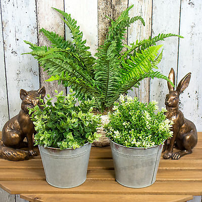 Set of 2 Round Galvanised Metal Plant Pots Troughs Flower Window Box Planters
