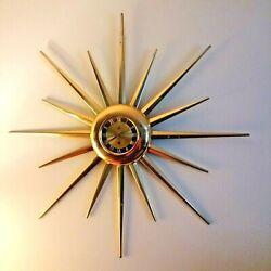 32 Mid Century Sunburst Starburst Eames Era Key Wind Wall Clock - Brass Finish