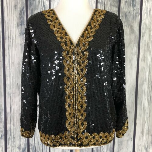 Jean For Joseph Le Bon Vintage M Black Sequin Gold Beads Silk Jacket (H16)