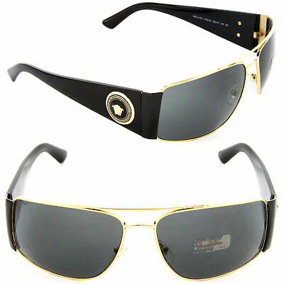 Versace VE2163 1002/87 63mm Rectangle Sunglasses Gold-Black / Grey Lens