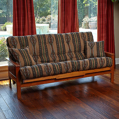 Futon Cover W/ 3 Sided Zipper Full Or Queen Upholstery Grade Fabric w/ 2 Pillows