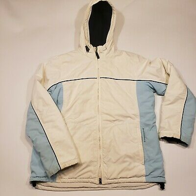 ABERCROMBIE & FITCH Women's Winter Ski Jacket Coat Size Medium, White and Teal