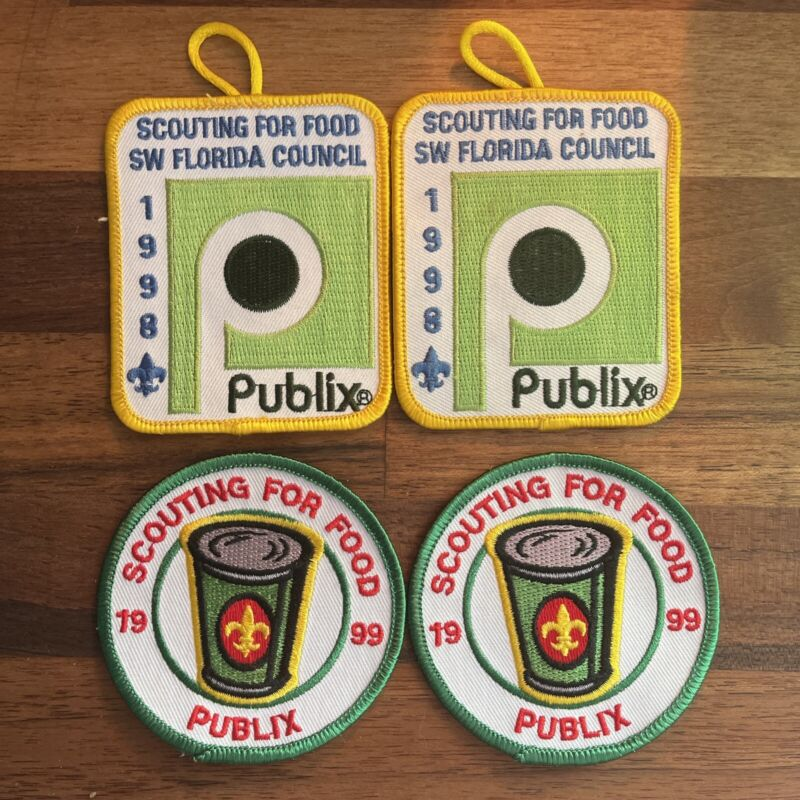 1998/1999 Scouting For Food, Lot of 4 Patches, New, Publix Sponsored Florida