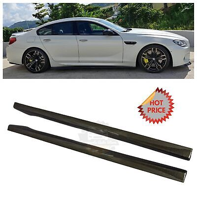 RACE CARBON FIBER SIDE SKIRT EXTENSIONS FOR 2014-2018 BMW F06 M6 GRAN COUPE