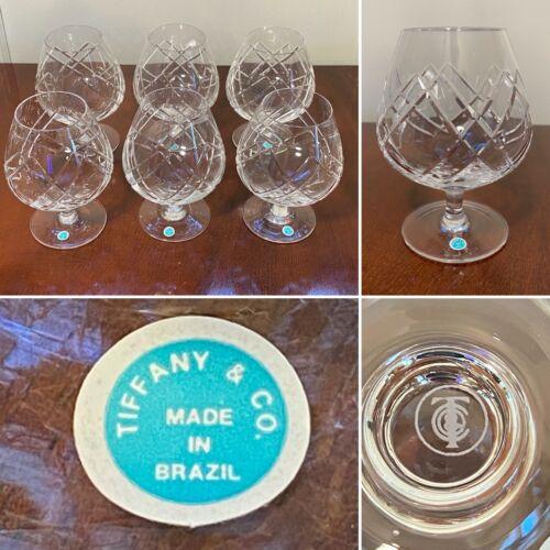 New/Unused Vintage Set of 6 TIFFANY & CO. 16 oz Crystal Brandy Liqueur Snifters