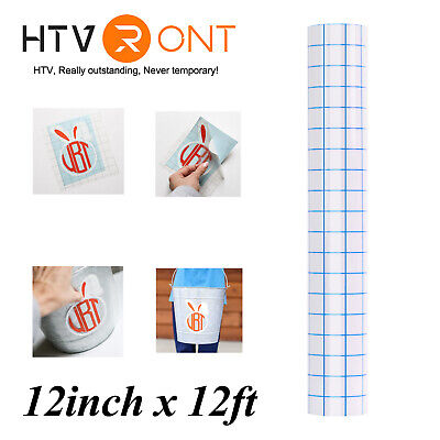 Htvront Blue Grid Transfer Tape Paper Roll 12x12ft Cricut Adhesive Alignment