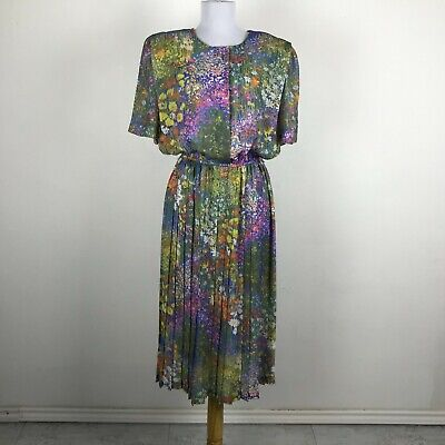 80s Dresses | Casual to Party Dresses Vintage 1980s Spring Floral Secretary Dress Size L Multicolor Polyester Womens $33.25 AT vintagedancer.com