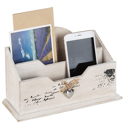 Mygift Whitewashed Wood Mail Sorter Rustic 2 Compartment Letter Organizer