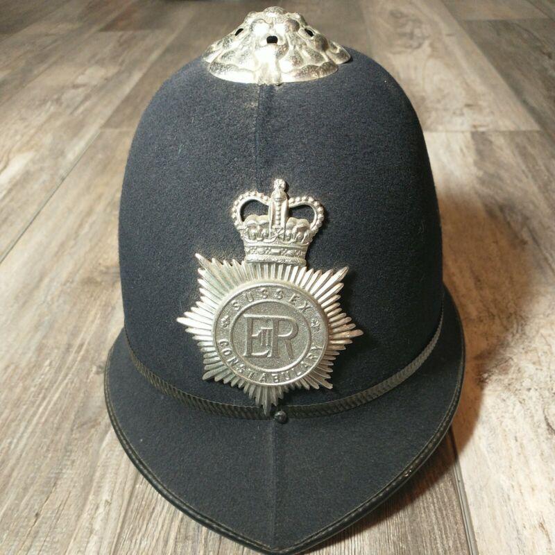 Original British BOBBY Helmet Hard Cap Hat SUSSEX CONSTABULARY United Kingdom