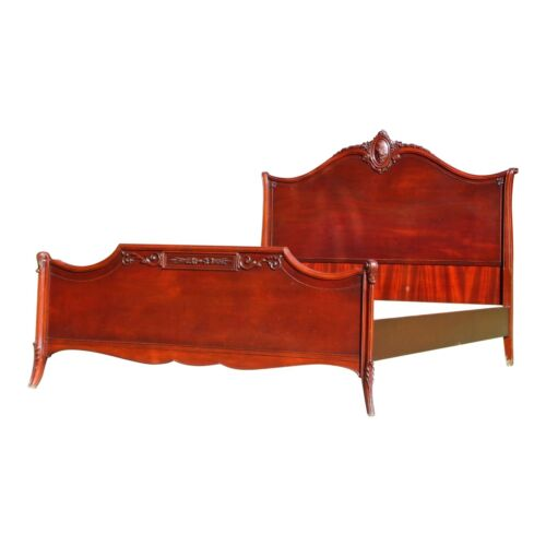 Antique French Louis XV Style Carved Solid Mahogany Full Size Double Bed
