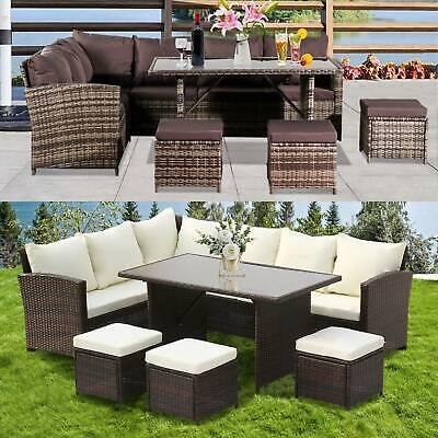 Garden Furniture - 9 SEATER RATTAN GARDEN FURNITURE SOFA DINING TABLE SET CONSERVATORY OUTDOOR UK