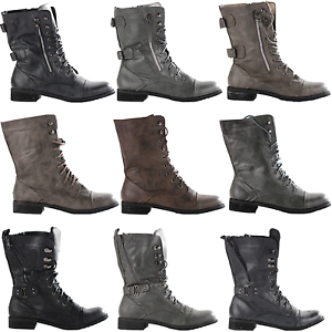 LADIES-WOMENS-COMBAT-ARMY-MILITARY-WORKER-LACE-UP-FLAT-BIKER-ZIP-ANKLE-BOOTS