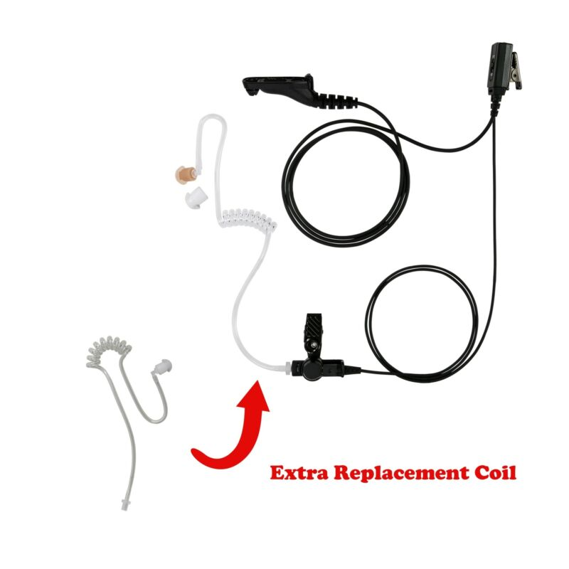 Extra Clear Coil Tube with 1-Wire Earphone PTT for Motorola APX7000XE APX7000