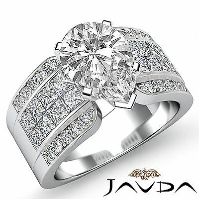 4 Prong Invisible Set Womens Pear Diamond Engagement Ring GIA G Color SI1 2.14Ct