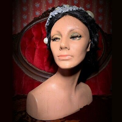 Vintage 50s Mannequin Female Face Bust Hat Head Display Distressed Oddity Creepy