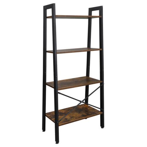 4-Tier Industrial Ladder Bookshelf Bookcase Storage Rack Shelves Home Office Bookcases & Shelving