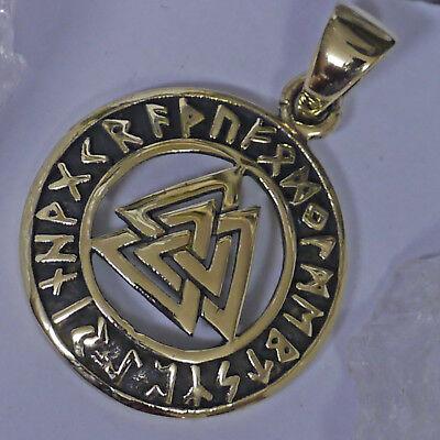 mini Valknut Runenkreis Schmuckanhänger Bronze Futhark Wotansknoten Lederschnur