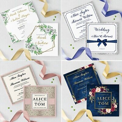 Wedding Invitations Personalised • Handmade Rustic Day Evening • Inc Envelopes