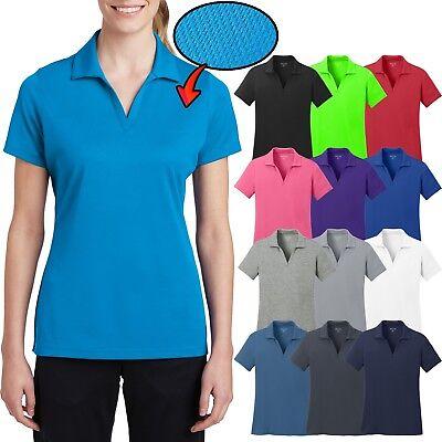 Ladies Plus Size MICRO MESH Polo Shirt Moisture Wick Dri Fit Tagless 2XL 3XL 4XL